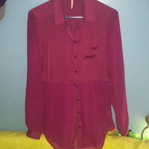 Sheer Tunic Blouse Free People Plum Raspberry